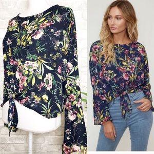 Kala Vella | Navy Floral Tie Front Top Size M